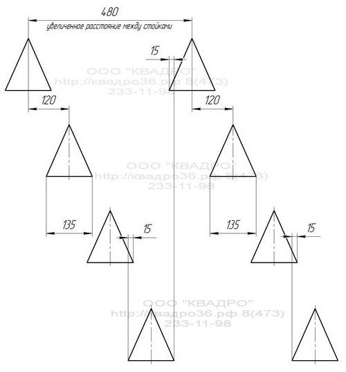 Схема расположение стоек культиватора